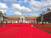 Crochet poppies at the Chelsea barracks